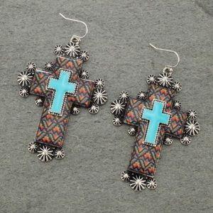 Aztec Print Cross Fish Hook Earrings
